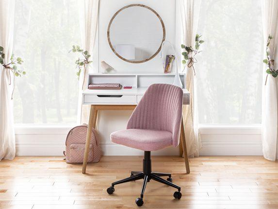 Blush pink study space